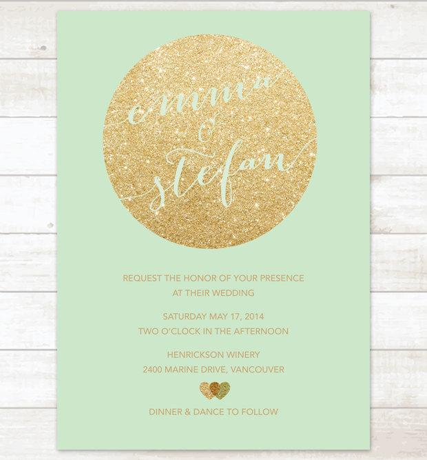 mint and gold wedding invitation gold glitter hearts invitation, Wedding invitations