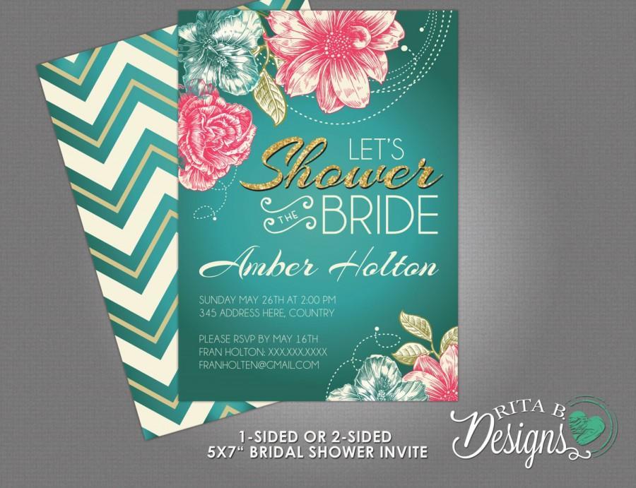 Свадьба - Vintage Spring Floral Bridal Shower Invitation, DIY Printable, Custom Colours
