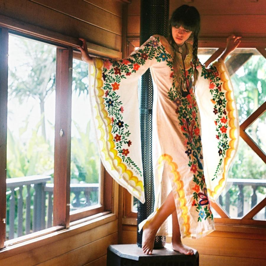 Mexican Embroidered Yellow Wedding Dress- Bohemian Caftan #2507579 ...