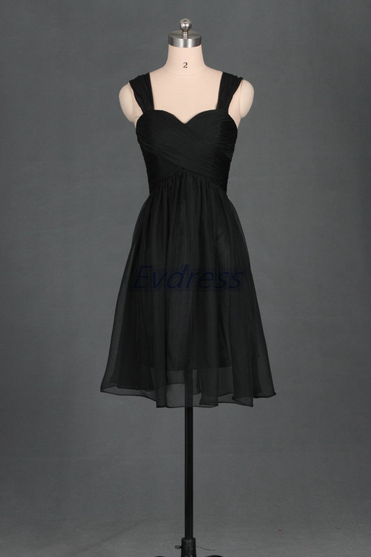 Mariage - 2016 Short black chiffon sweetheart bridesmaid dress,cheap bridesmaid gowns under 100,simple prom dresses with straps.