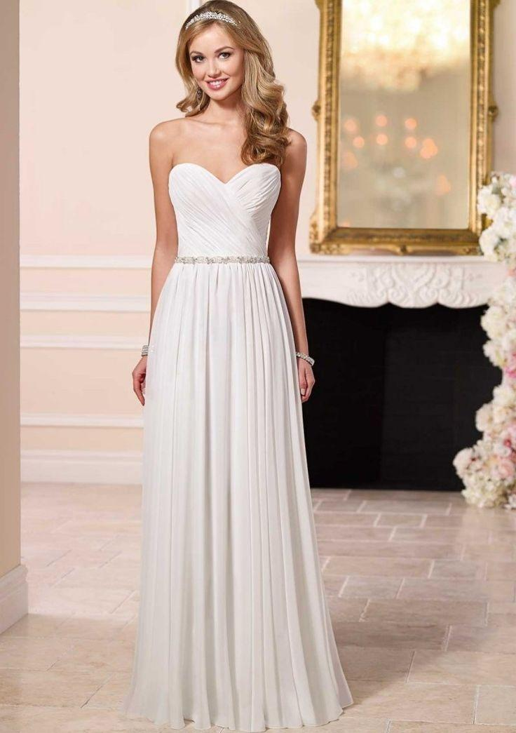 Hochzeit - Bead Waist Simple Beach Wedding Dress
