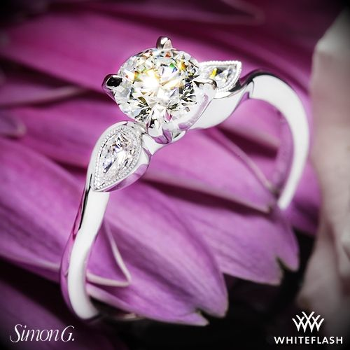 Свадьба - 18k White Gold Simon G. MR2342 Dutchess Three Stone Engagement Ring