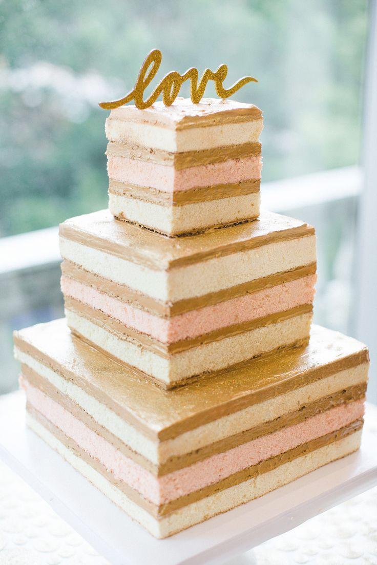 Square Three Tier Naked Wedding Cake