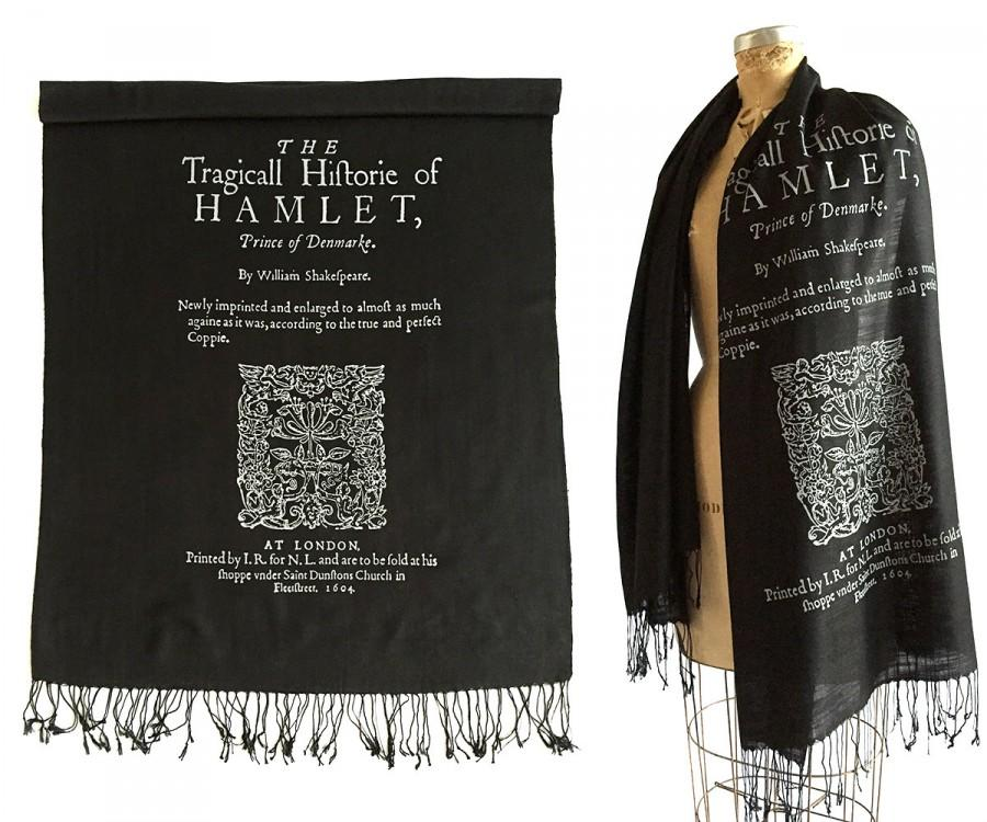 Wedding - Hamlet Book Scarf. Shakespeare Print Scarf, 1604 Title Page Book Print. Literary gift, theatre gift. Black linen weave pashmina + more.