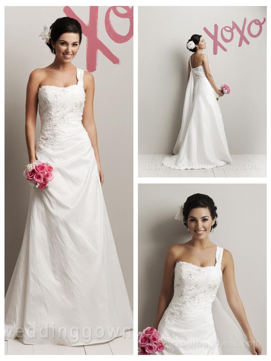 Mariage - Taffeta One Shoulder Popular Summer Outside Wedding Dress with A-line Skirt