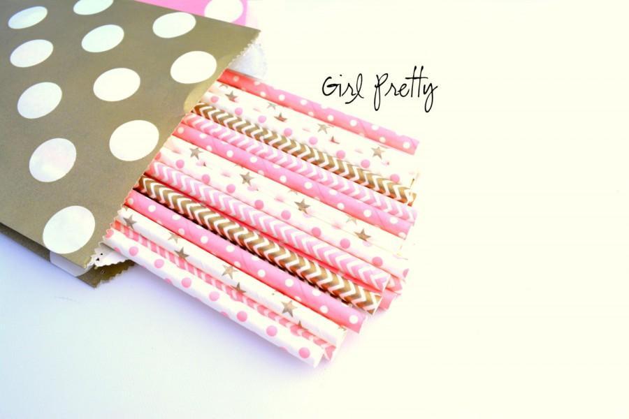 زفاف - Girl Pretty - pink and gold party - gold straws - pink straws *princess party -tea party -paper straws -gold stars -chevron - polkadots