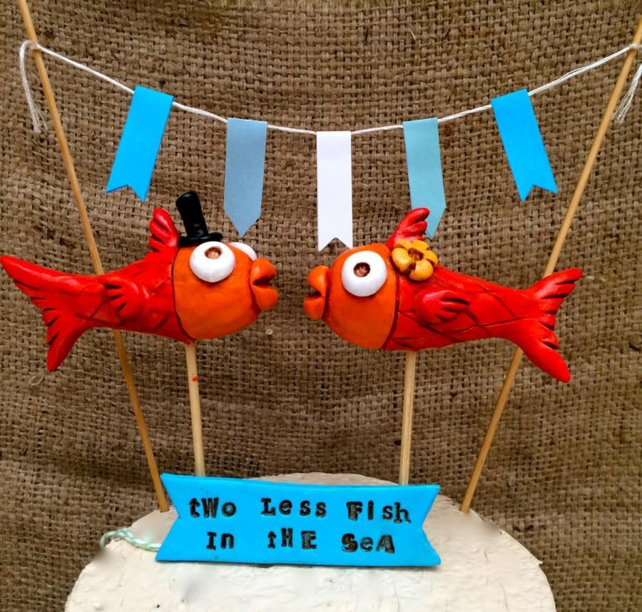 Mariage - Orange Kissing Fish Folk Art wedding cake topper