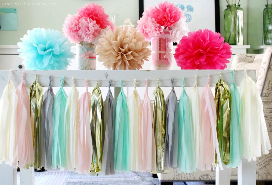 Mint Green, Light Pink, Grey, Cream, Gold Tissue Paper Tassel ...