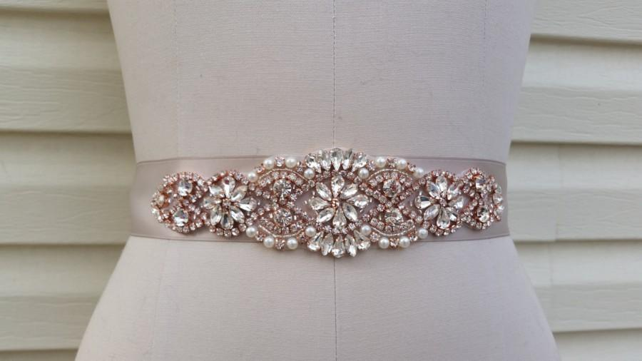 Mariage - Wedding Belt, Bridal Belt, Sash Belt, Crystal Rhinestone & Off White Pearls with Rose Gold Details  - Style B200099RG