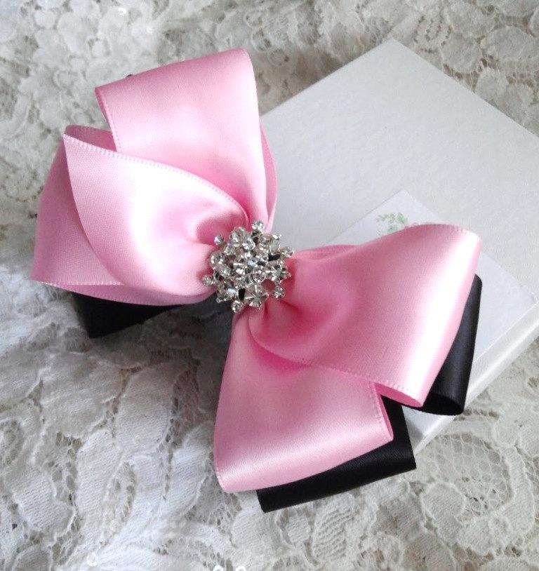 Mariage - Girls Hair Bow with Sparkle in Light Pink and Black, Flower Girl, Pageant Bow