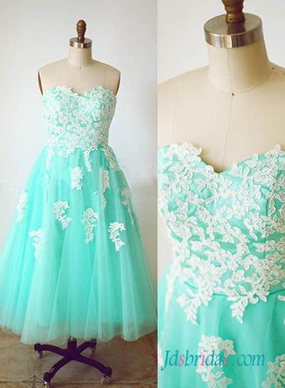 Wedding - Aqua vintage lace and tulle tea length prom dress