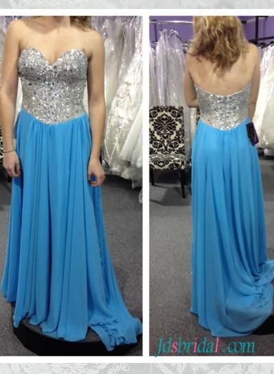 Mariage - PD16057 blue with sparkly sequined top long chiffon prom gown