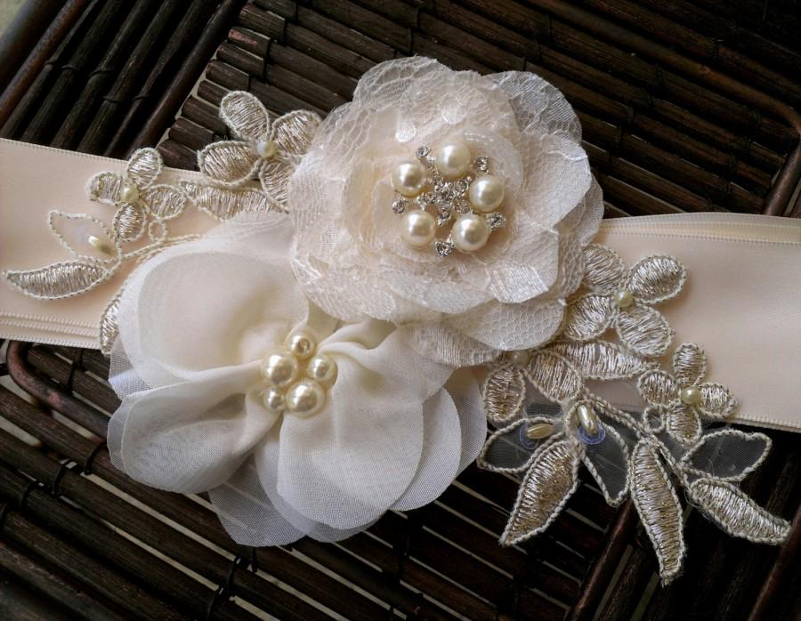 Mariage - Champagne, Ivory, and Gold Bridal Sash Belt With Fabric Flowers, Lace, Pearls, Vintage Style Button - Lace Bridal Sash