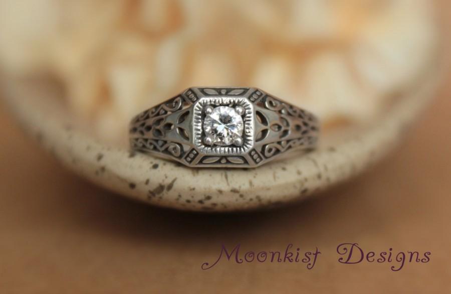 Edwardian Style Square Engagement Ring Moissanite Filigree Wedding