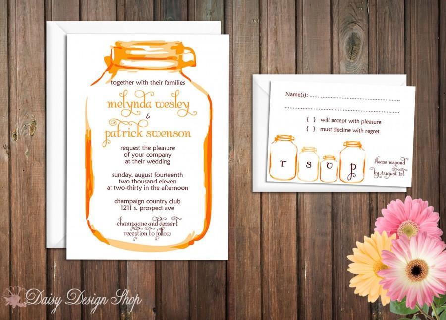 Wedding - Wedding Invitation - Mason Jar - Painted Watercolors - Invitation and RSVP Card with Envelopes