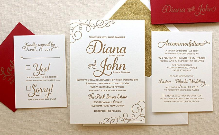 the casablanca suite classic letterpress wedding invitation suite gold ink red white modern calligraphy script swirls - White And Gold Wedding Invitations