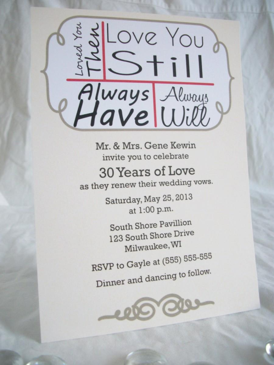 Mariage - Love you still... Vow renewal Invitation-Digital File