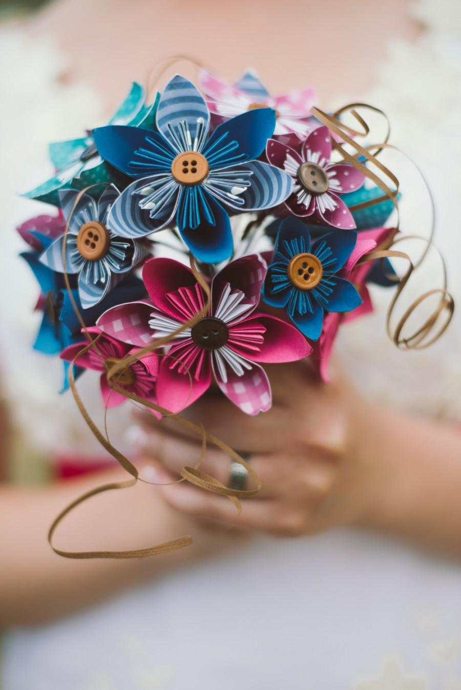 Свадьба - Bridal Bouquet - Paper Flowers - Kusudama - Made to Order