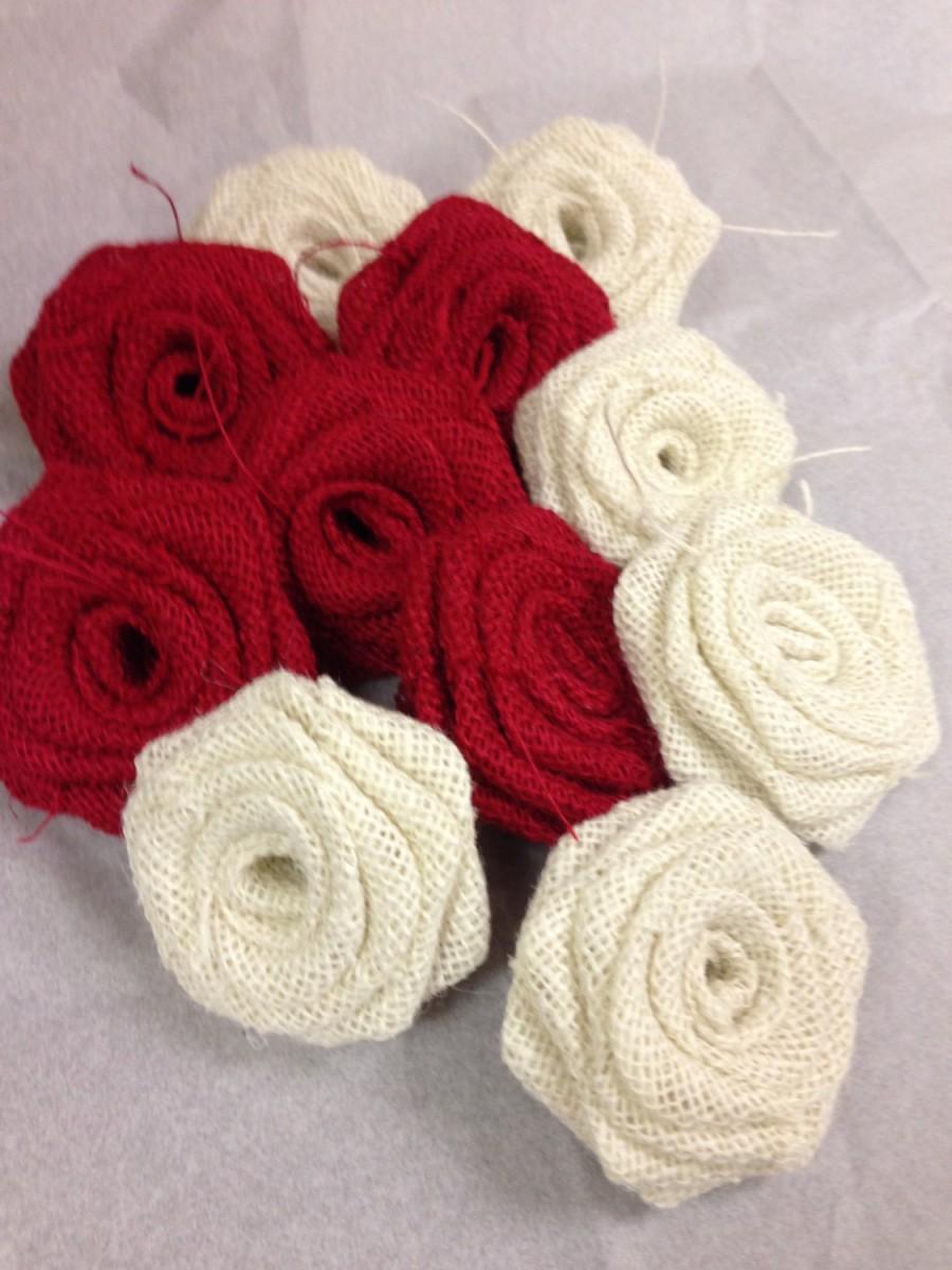 Set Of 12- Red Burlap Rose,White Burlap Rose,Red Burlap Flower ...