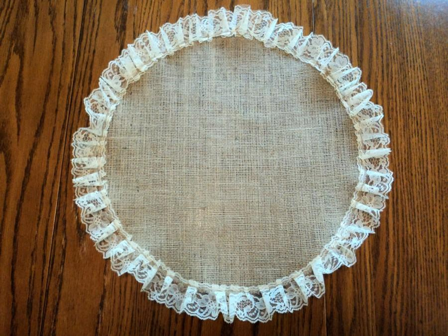 Burlap And Lace Round Table Centerpiece Placemat Rustic Wedding Decorations
