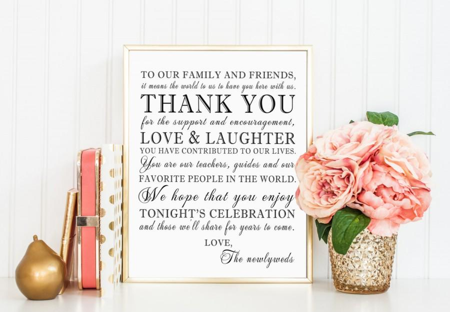 زفاف - PRINTABLE - Thank You Family Friends Wedding Sign - 8 x 10 or 5 x 7 DIY Instant Download