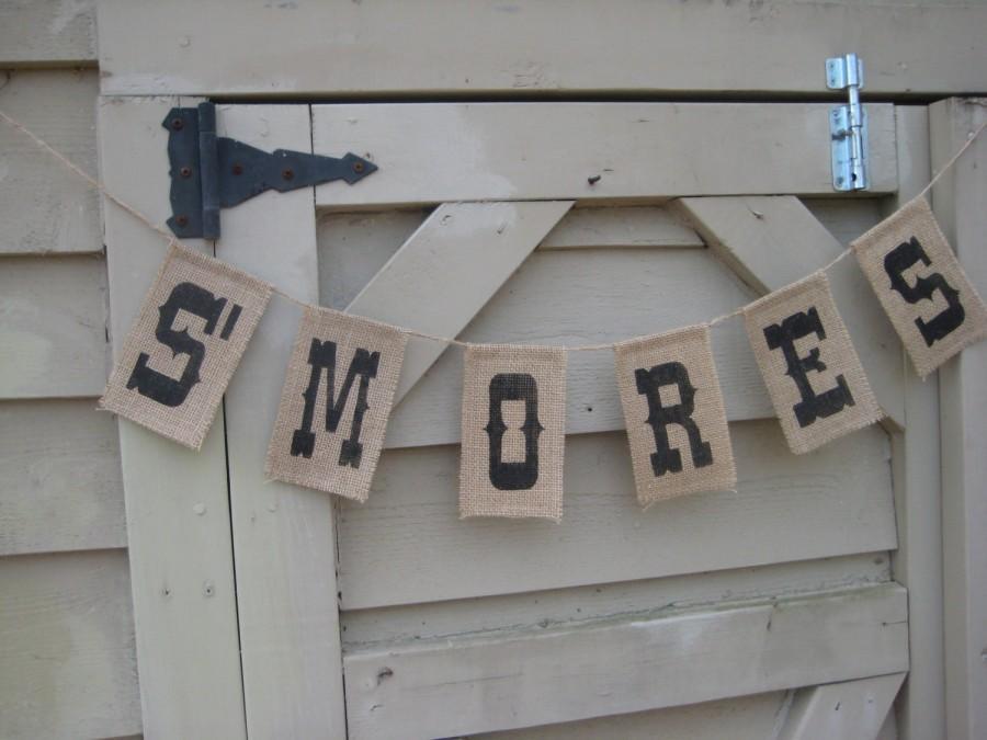 S Mores Burlap Banner Wedding Sign Rustic Decor Your Divine Affair