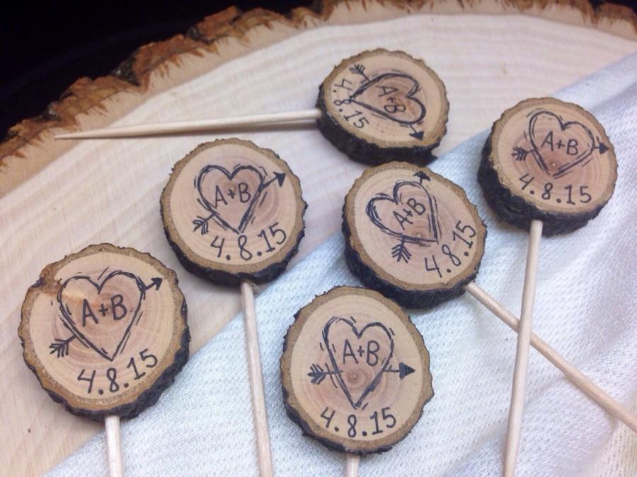 Rustic wedding cupcake toppers custom initials date heart arrow rustic wedding cupcake toppers custom initials date heart arrow tree slice bridal shower party picks wedding decor wood picks junglespirit Images