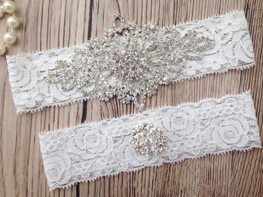 Hochzeit - Wedding Garter - Wedding Garter Belt - Rhinestones Garter - Crystal Rhinestone - Wedding Garter - Lace Garter - Wedding Garter Set - Garter