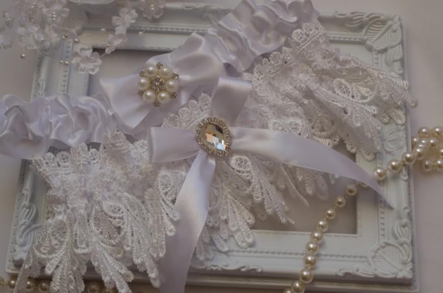Hochzeit - Wedding Garter Set Lingerie Garters Bridal Garters Weddings Garter White Venice Wedding Lace Garter Bridal Garter with Crystals Pearl Lace