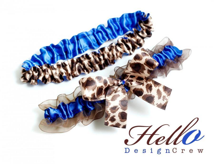 Hochzeit - Wedding Garter Set, Boudoir Garter Set, Bridal Garter Set, Prom Garter - Royal Blue Leopard Animal Print Garter Set