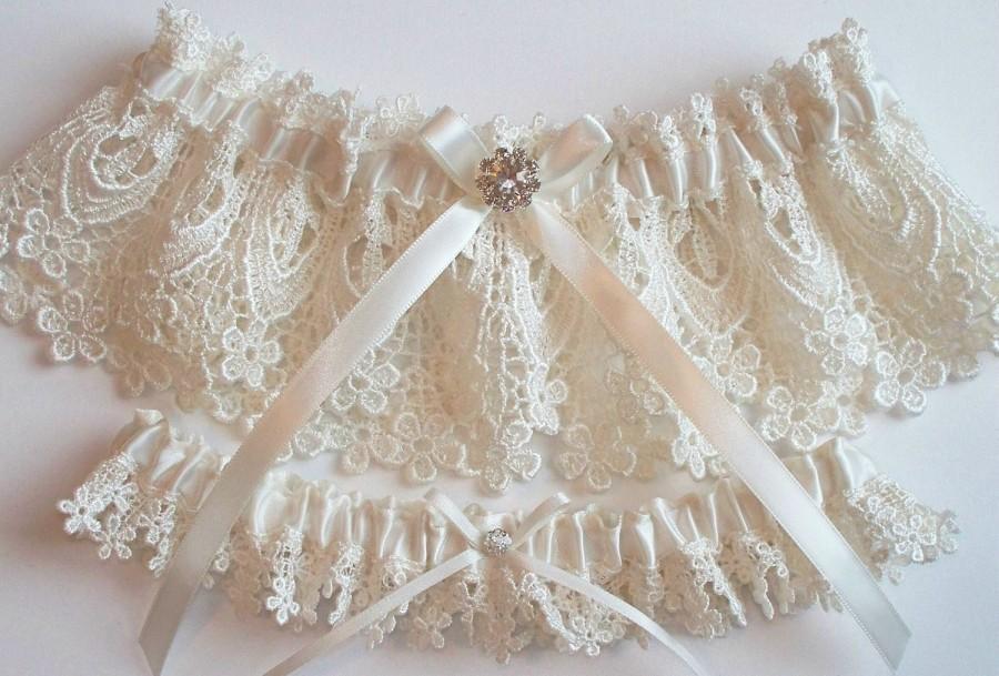 Hochzeit - Wedding Garter Set with Beautiful Rhinestone Finding on a Satin Bow - The BETHANY LYNN Garters