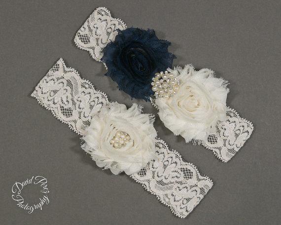 Hochzeit - Lace Garter Wedding Garter Bridal Garter Thigh Garters Toss Garter Keepsake Garter Vintage Garter Ivory and Navy Blue Garter Ivory Lace