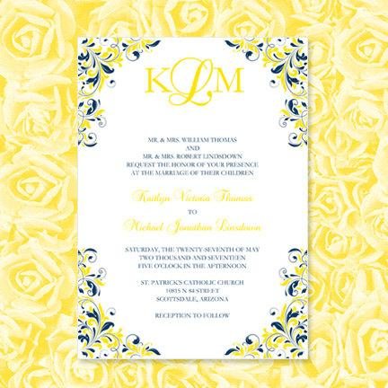 "Wedding - Navy Blue & Yellow Wedding Invitations ""Kaitlyn"" Printable Template Make Your Own Invitations All Colors Av Instant D. Word.doc DIY U Print"