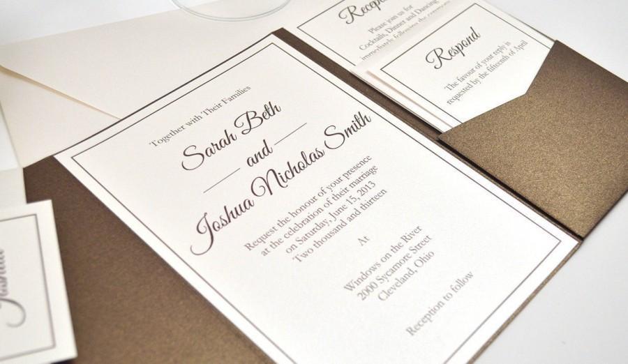 pocketfold wedding invitation wedding invitation bronze brown