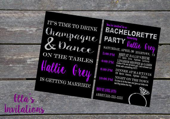 Wedding - Glitter Bachelorette Invitiation Card