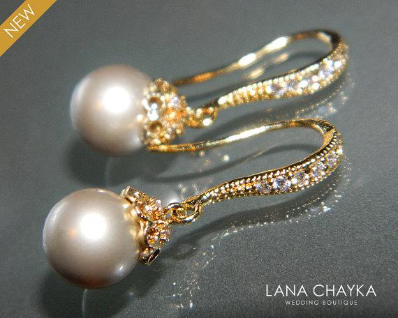 Platinum Beige Pearl Gold Earrings Swarovski 8mm Vermeil Small Drop Wedding Earring Bridal Jewelry
