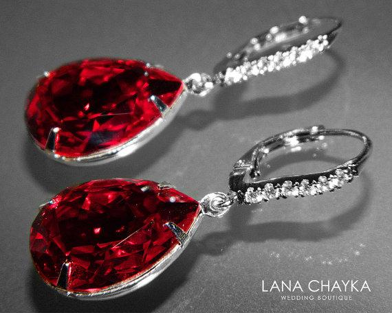 Dark Red Crystal Leverback Earrings Swarovski Rhinestone Siam Dangle Earring Wedding Teardrop Silver Cz Bridal