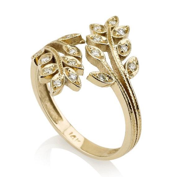 Mariage - Tree Ring, 14K Yellow Gold Ring, Leaf  Ring, Art Deco Ring, Promise Ring, Statement Ring, Diamond Ring, Anniversary Ring, Band Ring