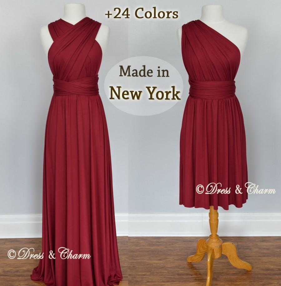 Mariage - Burgundy Bridesmaid Dresses, gown convertible dress, infinity dress, maternity dress, bridesmaid gown, party dress, Wedding Dress, formal dr