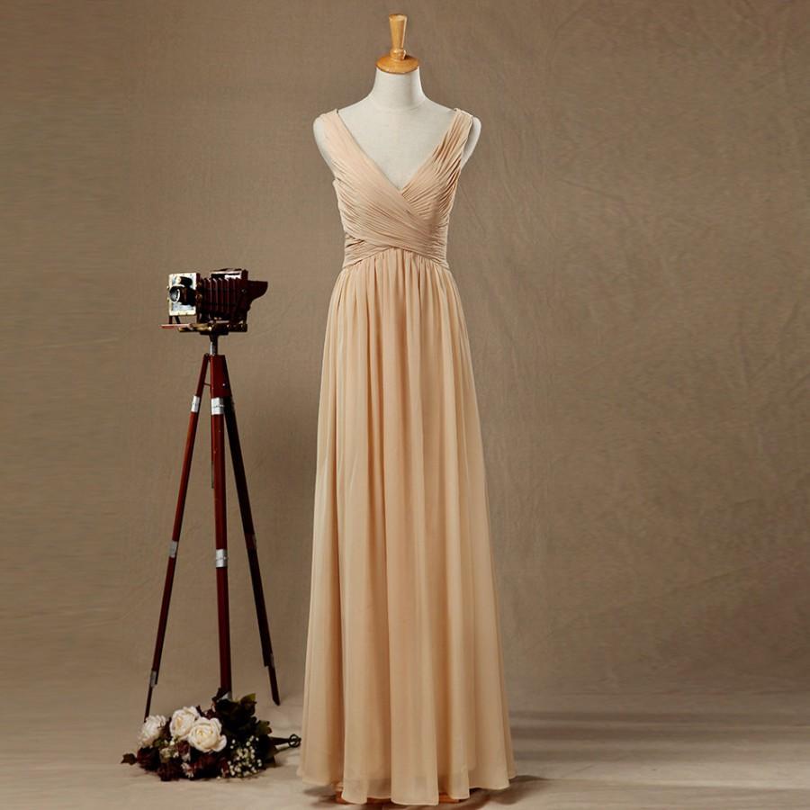 Wedding - V Neck V Back Champagne Bridesmaid dress, Champagne Wedding dress, Party dress, Women Formal Evening dress, Maxi dress floor length