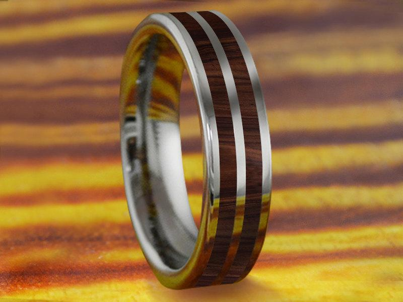 Mariage - 6MM Flat Tungsten Ring/Band With Double Row Koa Wood Hawaii Inlay - Wedding/Promise/Engagement Ring/Fathers Day Gift/Graduation Gift!!!