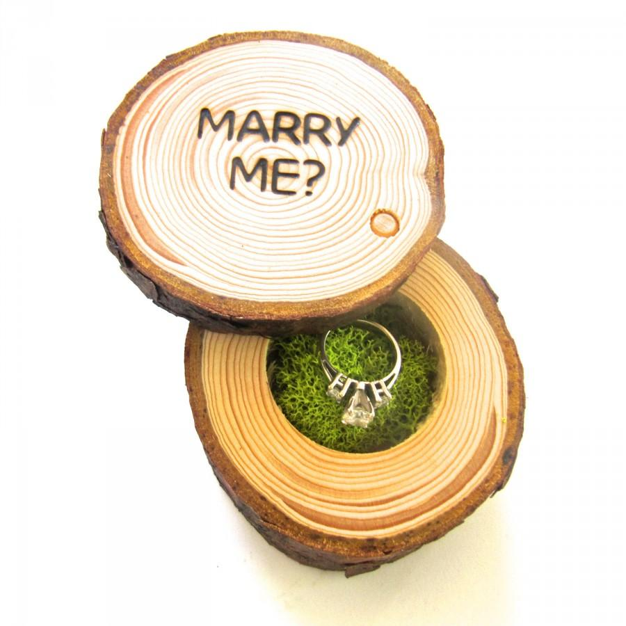 Mariage - Proposal Ring Box, Wedding Proposal Box, Engagement Ring Box, Rustic Wood Box