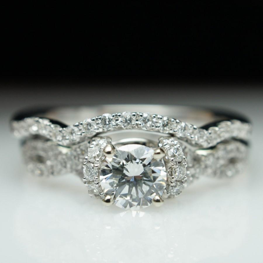Mariage - Diamond Half Halo Infinity Engagement Ring & Wedding Band Complete Bridal Set 14k White Gold