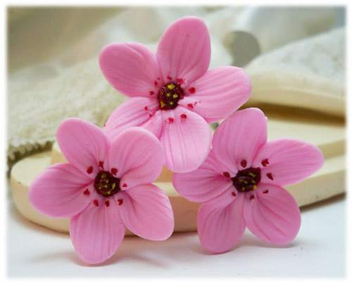 Mariage - Pink Cherry Blossom Hair Pins - Pink Sakura Hair Pins, Pink Hair Flowers, Pink Cherry Blossom Hair Clips, Pink Cherry Blossoms Bobby Pins