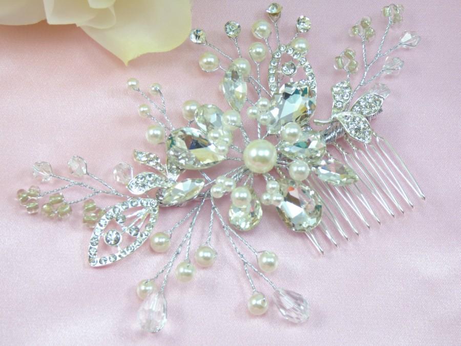 Mariage - Manhattan Bridal Hair Comb, Wedding Hair Comb,  Pearl and Crystal Hair Comb, Bridal Wedding Hair Accessories, Floral Bridal Headpiece