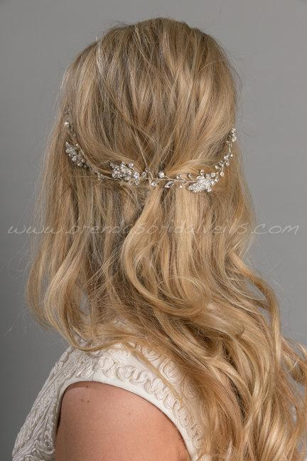 Mariage - Rhinestone Hair Vine, Bridal Headband, Pearl Leaf and Crystal Headband, Boho Headband - Amelia