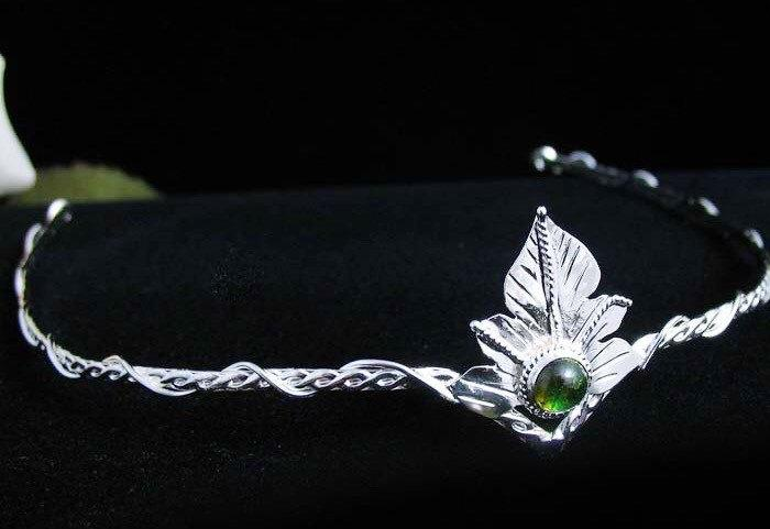 Mariage - Elvish Woodland Leaf Circlet, Handmade, Sterling Silver, OOAK LOTR headpiece, Alternative wedding
