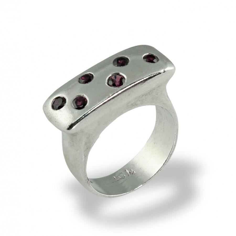 Mariage - Garnet Engagement Ring , Gemstone Statement Ring , Gemstone Silver Ring , Garnet Gem, Alternative Engagement Ring , Silver Rings