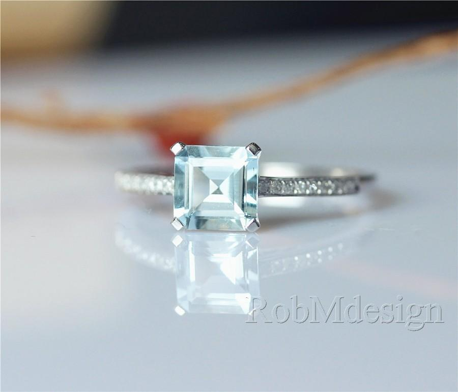Mariage - 14k White Gold Princess Cut VS 7mm Blue Aquamarine Engagement Ring Half Eternity Pave Diamond Gemstone Ring Aquamarine Ring