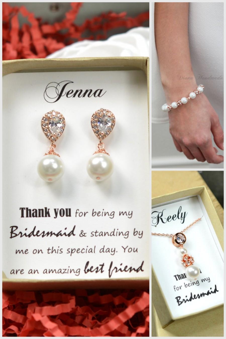 Mariage - Rose gold Wedding Jewelry Bridesmaid Gift Bridesmaid Jewelry Bridal Jewelry ivory /Pink or white Pearl Drop Earrings Cubic Zirconia Earrings